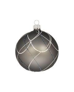 Christbaumkugel aus Glas, 8 cm, grau mit Karomuster