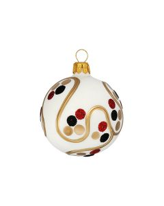 Glass ball, 6 cm, white with dots