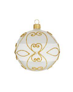 Glass ball, 8 cm, matt-transparent with white and golden glitter