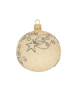 Christbaumkugel aus Glas, 8 cm, matt creme mit blauen Sternen