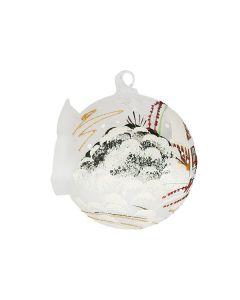 Glaskugel für Teelicht, 10 cm, weiß mit Winterlandschaft