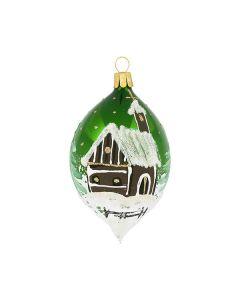 Olive aus Glas, 10 cm, grün mit Kapelle