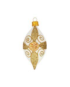 Olive, 10 cm, white with golden glitter