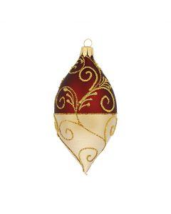 Olive aus Glas, 10 cm, weinrot-rot mit Goldglitzer