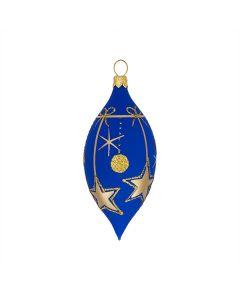 Olive aus Glas, 8 cm, matt blau mit goldenen Sternen