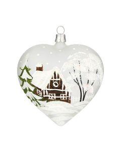 Herz aus Glas, 10 cm, transparent mit Winterlandschaft