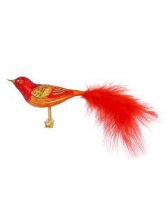 Vogel aus Glas, 18 cm, rot-gold mit roten Federn