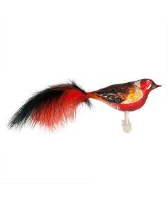 Vogel aus Glas, groß, rot-schwarz mit aufwendiger Bemalung und Federn