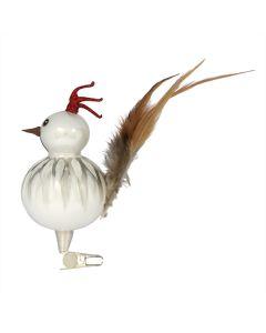 Vogel aus Glas, Gockelhahn, weiß mit Clip und Federn