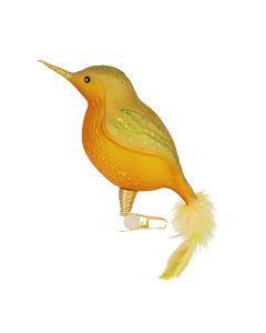 Glasfigur mit Federn, Vogel, groß, gold-transparent mit grünem Glitzer, Federn