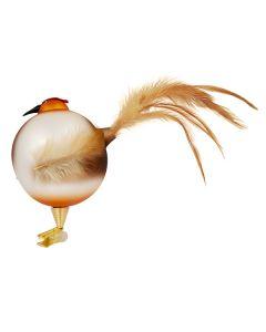 Vogel aus Glas, 8 cm, aufgeblustert, braun mit Federn