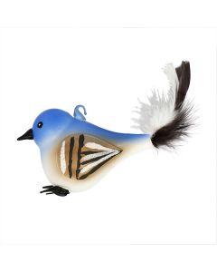 Vogel aus Glas, dicker Spatz mit Federn, blau-weiß
