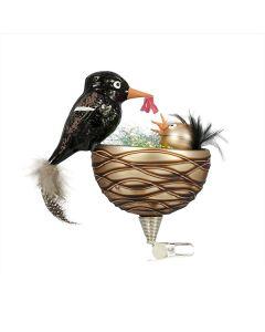 Glasfigur mit Federn handbemalt Vogel Amsel mit Küken im Nest mit Clip zum Anbringen an Osterstrauß Gablonzer Osterschmuck