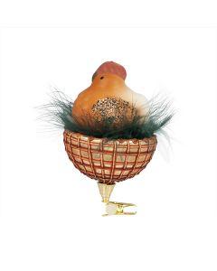 Glasfigur mit Federn, handgefertigt, Henne im Nest, mit Clip
