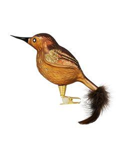Vogel aus Glas, groß, Federn, braun