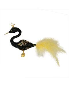 Vogel aus Glas, schwarzer Schwan mit goldenem Glitzer und Federn