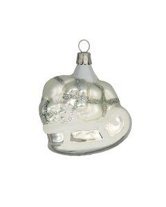 Glasfigur, Schlitten mit Packerl, silber-weiß, 7,5 cm