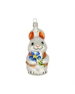 Glasfigur, weißer Hase mit blauer Blume, handbemalt, 11 cm
