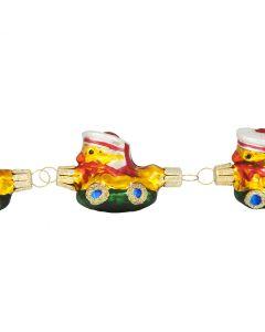 Glasfiguren, Kette mit 4 Enten im Boot, handgefertigt, 28 cm