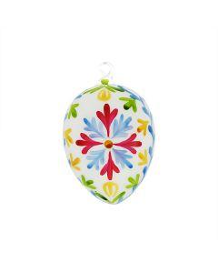 Osterei aus Glas mit Blumenmuster, 10 cm, bunt