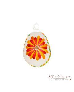 Osterei aus Glas, handbemalt mit Blumenmuster, 7 cm