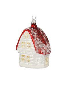 Glasfigur, Haus, 12 cm, weiß mit rotem Dach
