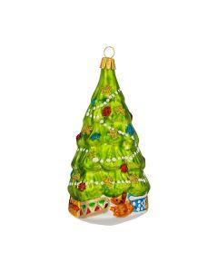 Glasfigur, Weihnachtsbaum mit Geschenke, 13 cm, grün