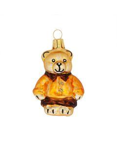 Glasfigur, Teddybär, 6,5 cm, altgold