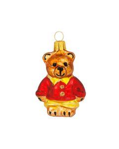Glasfigur, Teddybär mit roter Jacke, 6,5 cm, braun