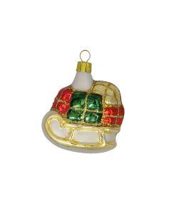 Glasfigur, Schlitten mit Packerl, weiß-gold-rot-grün
