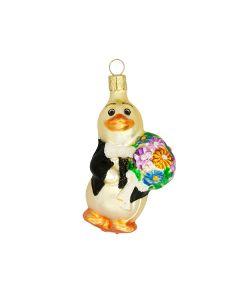 Figur, Ente mit Blumenstrauß, bunt, handbemalt, 9 cm