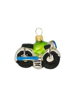 Glasfigur, Motorrad mit grünem Sitz, 4,5 cm