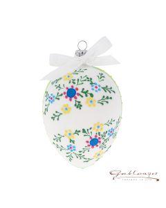 Osterei aus Glas, weiß matt mit Blumen, handbemalt