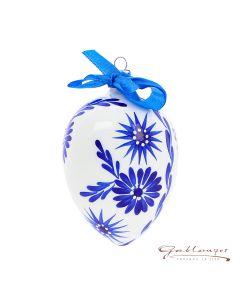 Osterei aus Glas, weiß mit  blauen Blumen, handbemalt