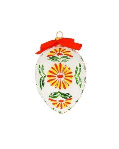 Osterei aus Glas, weiß matt mit Blumenmuster, 10 cm