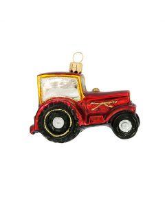 Glasfigur, Traktor, 7 cm, rot
