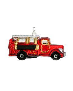 Glasfigur, Feuerwehrauto, 11 cm, rot