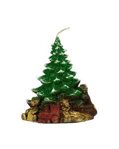 Kerze aus Wachs, Baum mit Geschenken, 13 cm, gruen