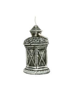 Kerze aus Wachs, Laterne, 13 cm, grau