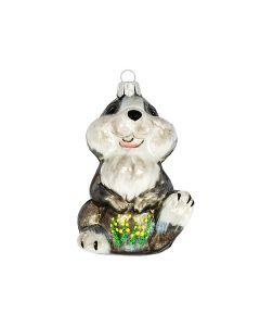 Glasfigur, Kaninchen, weiß-grau, 7,5 cm