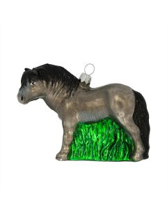 Glasfigur, Pferd grau, 10 cm