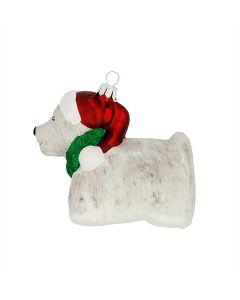 Glasfigur, Hund mit roter Mütze, 10 cm, weiß-rot