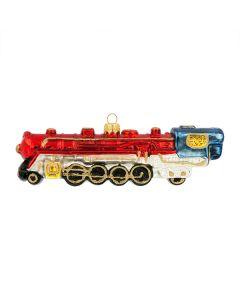 Glasfigur, Lokomotive, 17 cm, rot-blau