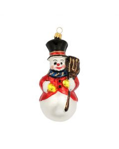 Snowman with Hat,  Jacket and Broom, colourful