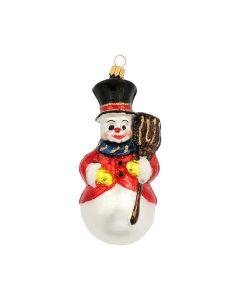 Glasfigur, Schneemann mit Hut, Jacke und Besen, 13 cm, bunt