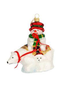 Glasfigur, Schneemann auf Eisbär, 11 cm, weiß-rot-grün
