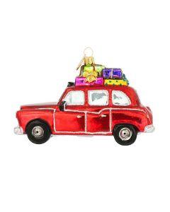 Glasfigur, London Taxi mit Geschenken, 13 cm, rot