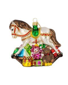Glasfigur, Schauckelpferd mit Geschenken, 11 cm, braun-bunt