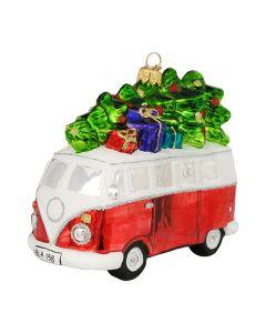 Glasfigur, VW-Bus mit Baum,  13 cm, rot