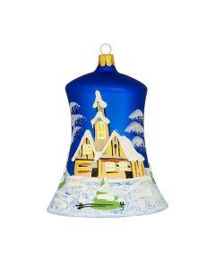 Glocke aus Glas, 14 cm, blau mit Winterlandschaft